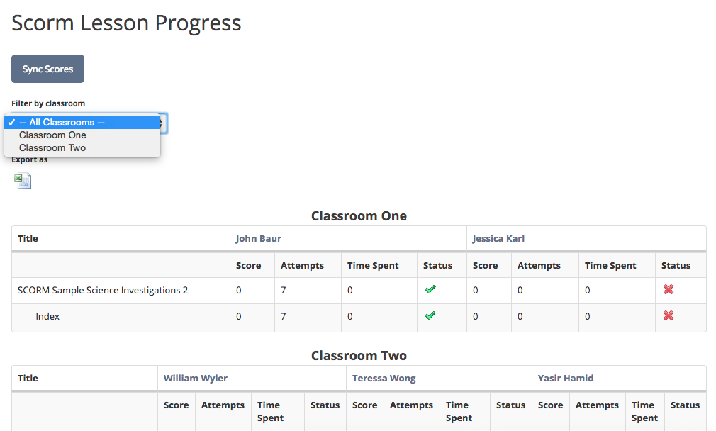 Filtering SCORM Progress by Classrooms