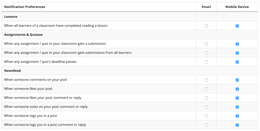 Notification Settings for Instructors