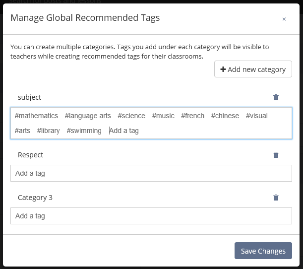 Creating recommended tags under multiple categories