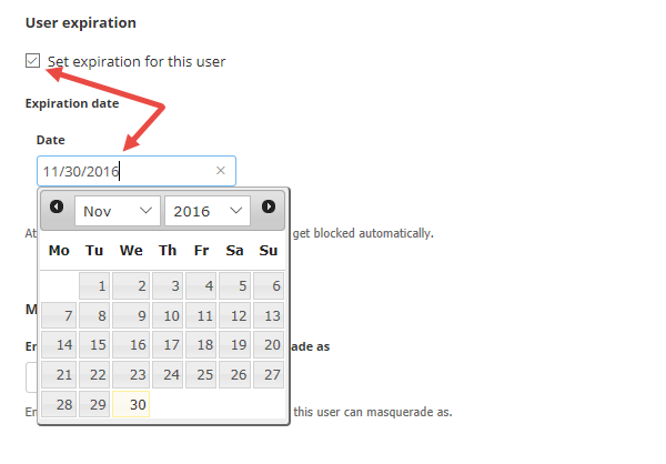 Setting user account expiration date