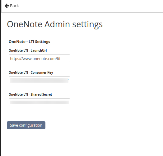 OneNote Admin settings