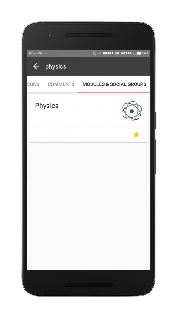 Search modules and social groups