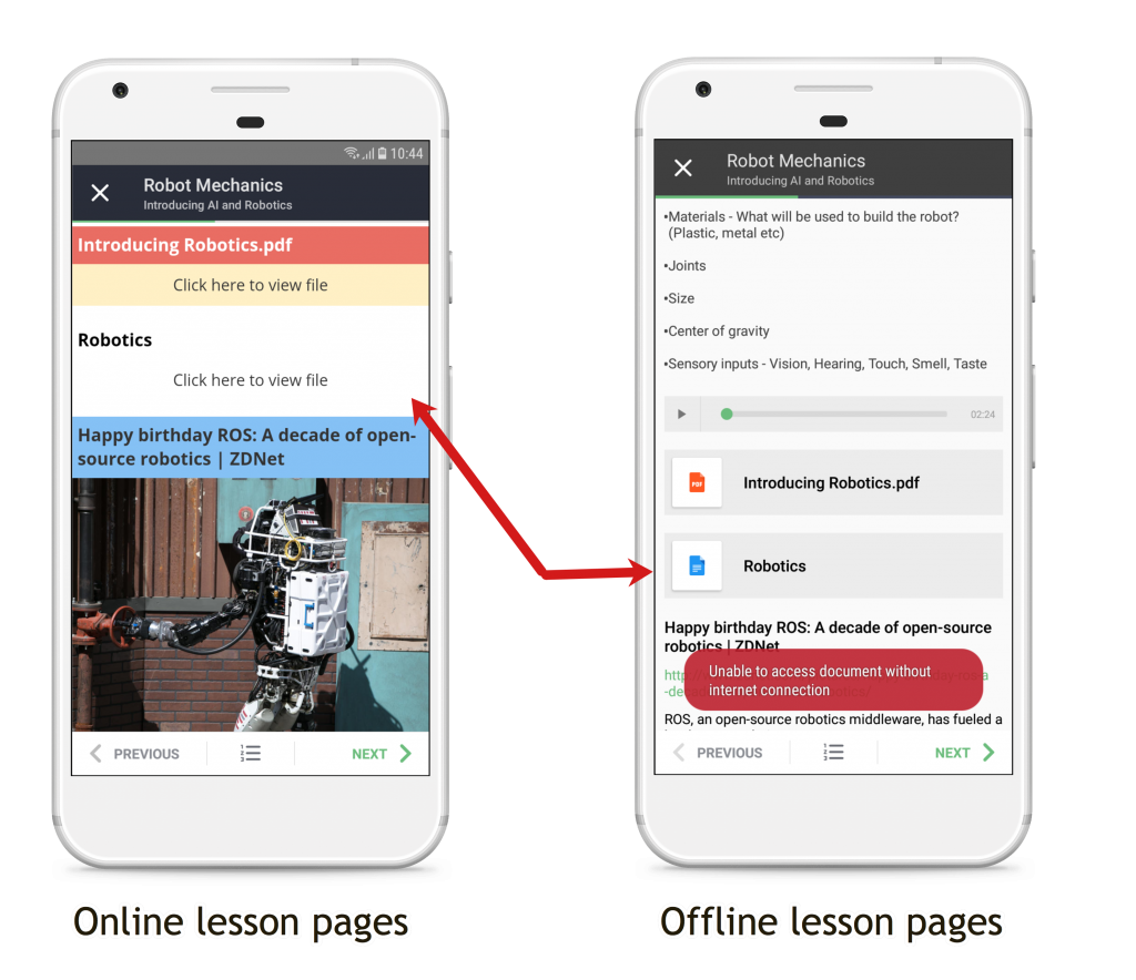 Online vs Offline lesson comparison in Teamie Android App