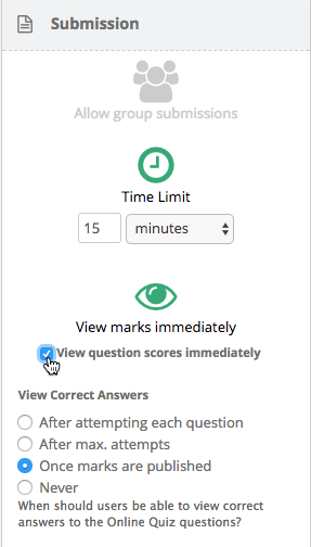 View question scores immediately setting