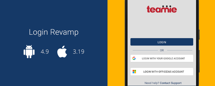 Teamie Mobile Apps Updates (Android - 4.9, iOS - 3.19)